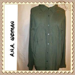 A.N.A. Olive Buttondown Blouse